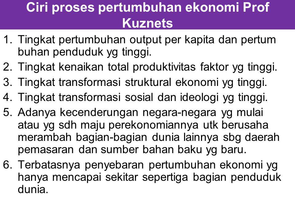 Ciri proses pertumbuhan ekonomi Prof Kuznets 1.Tingkat pertumbuhan output per kapita dan pertum buhan penduduk yg tinggi.