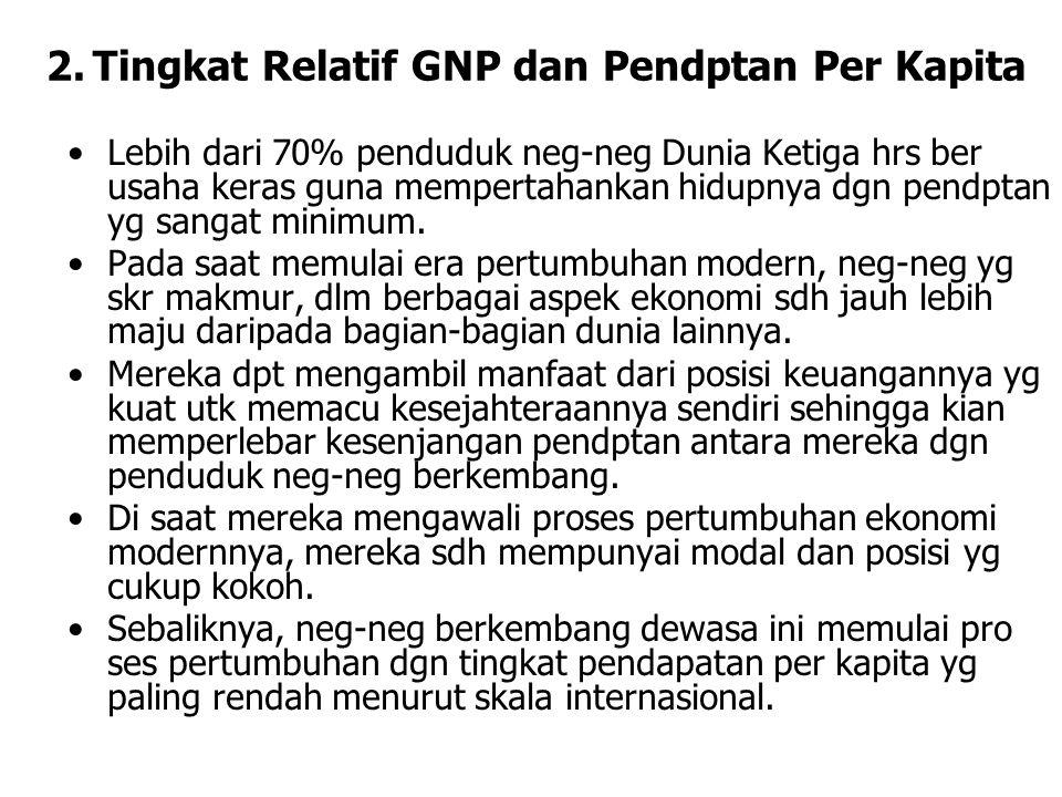 2.Tingkat Relatif GNP dan Pendptan Per Kapita Lebih dari 70% penduduk neg-neg Dunia Ketiga hrs ber usaha keras guna mempertahankan hidupnya dgn pendptan yg sangat minimum.