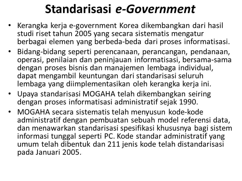 Standarisasi e-Government Kerangka kerja e-government Korea dikembangkan dari hasil studi riset tahun 2005 yang secara sistematis mengatur berbagai elemen yang berbeda-beda dari proses informatisasi.