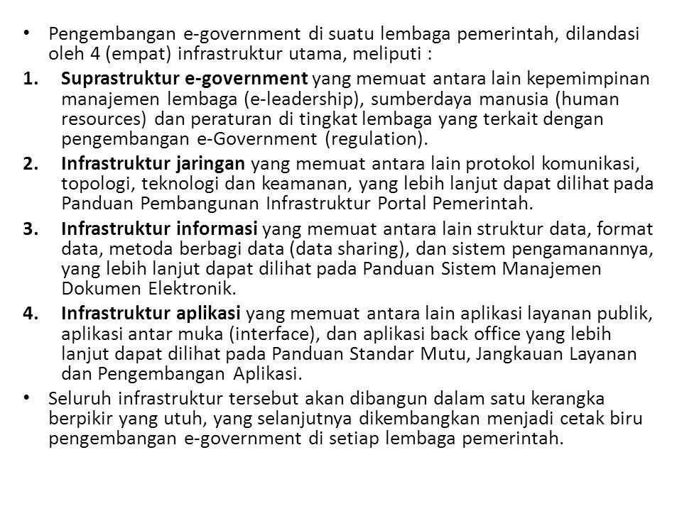 Pengembangan e-government di suatu lembaga pemerintah, dilandasi oleh 4 (empat) infrastruktur utama, meliputi : 1.Suprastruktur e-government yang memuat antara lain kepemimpinan manajemen lembaga (e-leadership), sumberdaya manusia (human resources) dan peraturan di tingkat lembaga yang terkait dengan pengembangan e-Government (regulation).