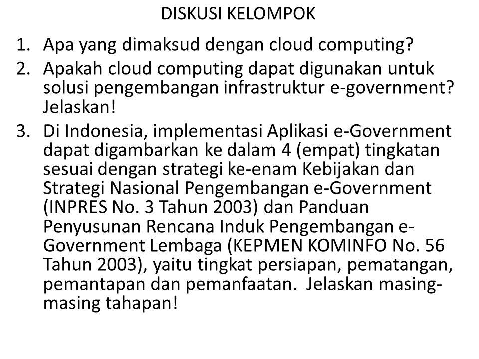 DISKUSI KELOMPOK 1.Apa yang dimaksud dengan cloud computing? 2.Apakah cloud computing dapat digunakan untuk solusi pengembangan infrastruktur e-govern