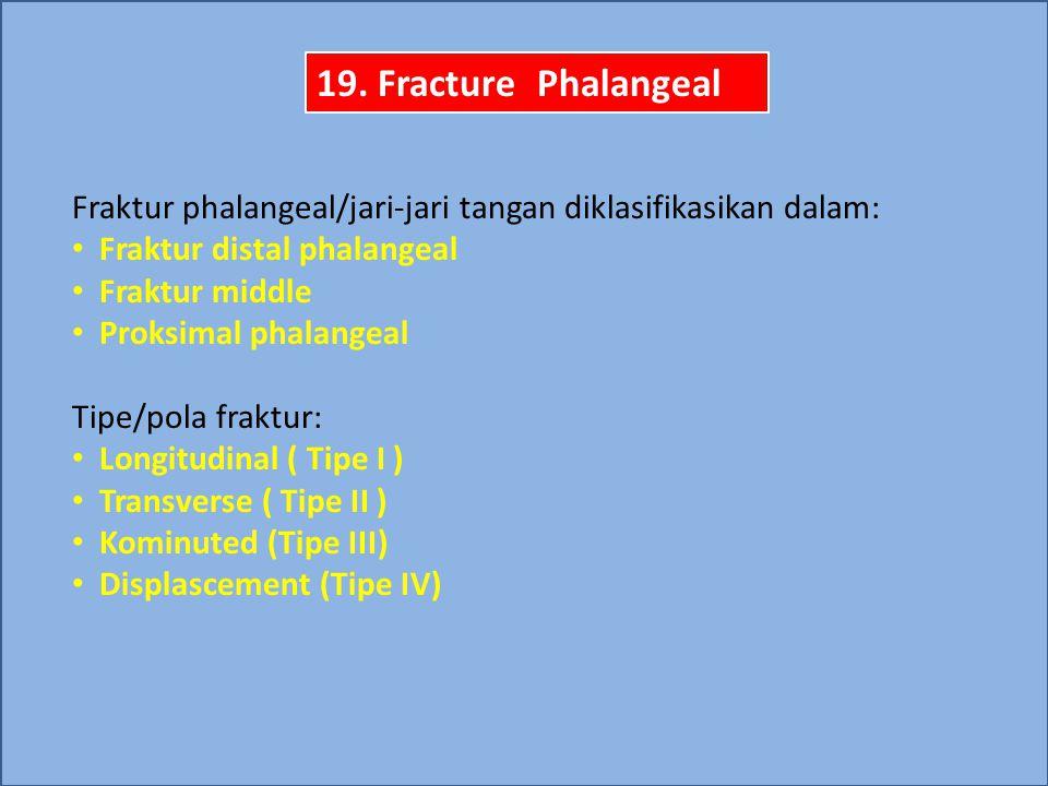 Fraktur phalangeal/jari-jari tangan diklasifikasikan dalam: Fraktur distal phalangeal Fraktur middle Proksimal phalangeal Tipe/pola fraktur: Longitudi