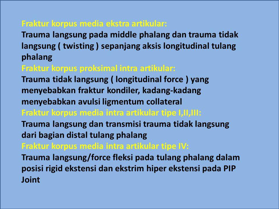 Fraktur korpus media ekstra artikular: Trauma langsung pada middle phalang dan trauma tidak langsung ( twisting ) sepanjang aksis longitudinal tulang