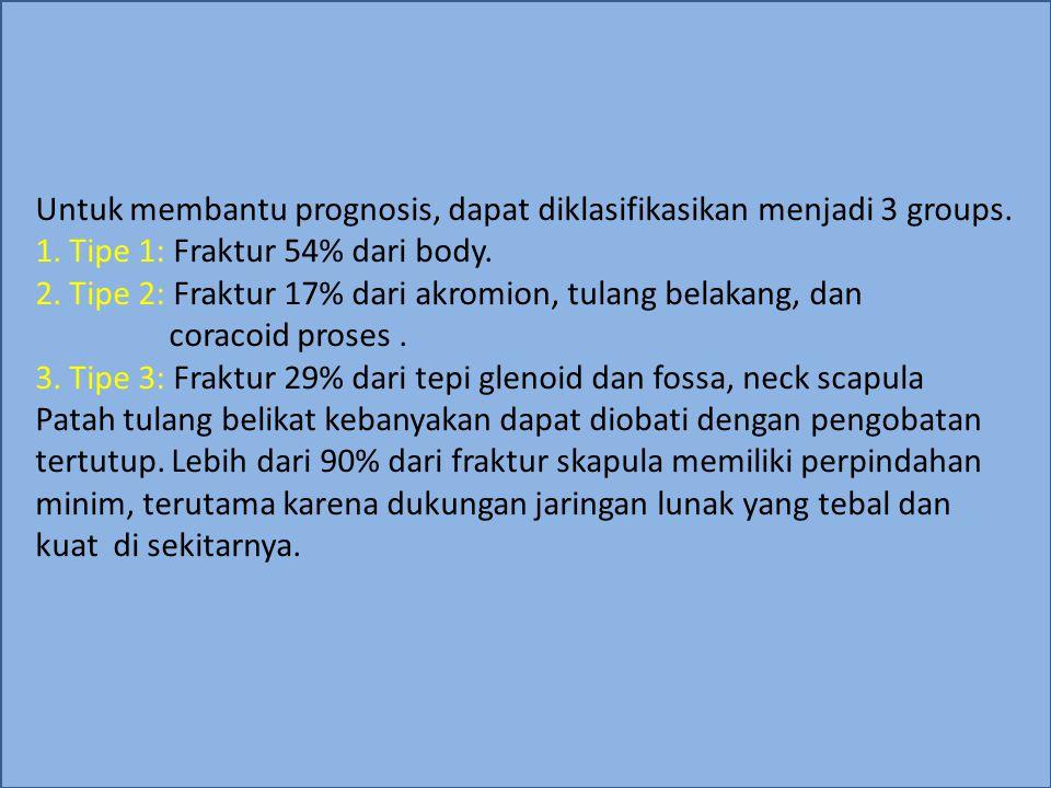 Etiologi Fraktur scapula biasanya akibat dari cedera dengan benturan keras dan langsung: kecelakaan lalu lintas 60%, jatuh dari ketinggian 20%, dan sisanya 20% dari berbagai penyebab.