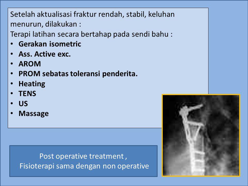 Setelah aktualisasi fraktur rendah, stabil, keluhan menurun, dilakukan : Terapi latihan secara bertahap pada sendi bahu : Gerakan isometric Ass. Activ