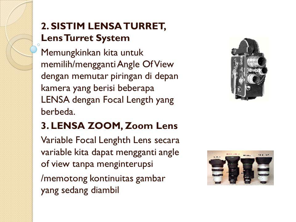 2. SISTIM LENSA TURRET, Lens Turret System Memungkinkan kita untuk memilih/mengganti Angle Of View dengan memutar piringan di depan kamera yang berisi