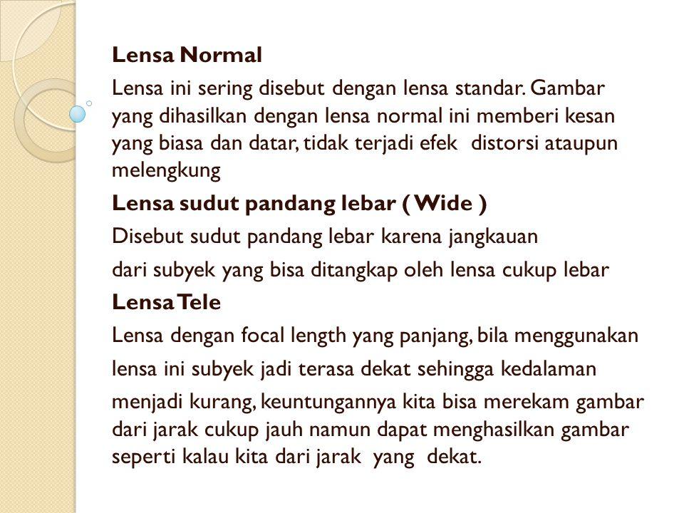 Lensa Normal Lensa ini sering disebut dengan lensa standar. Gambar yang dihasilkan dengan lensa normal ini memberi kesan yang biasa dan datar, tidak t