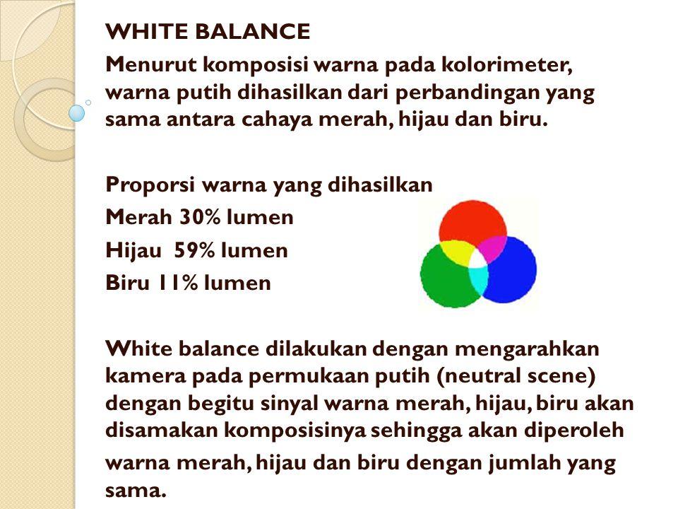 WHITE BALANCE Menurut komposisi warna pada kolorimeter, warna putih dihasilkan dari perbandingan yang sama antara cahaya merah, hijau dan biru. Propor