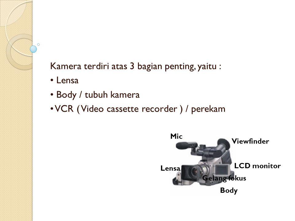 Kamera terdiri atas 3 bagian penting, yaitu : Lensa Body / tubuh kamera VCR ( Video cassette recorder ) / perekam Viewfinder Body Mic LCD monitor Lens