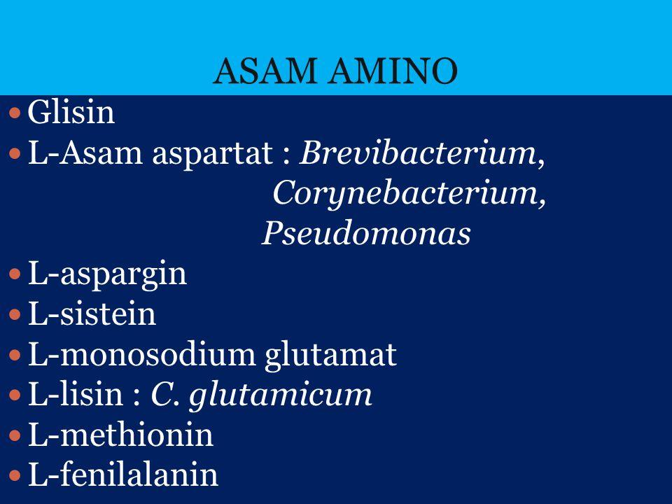 ASAM AMINO Glisin L-Asam aspartat : Brevibacterium, Corynebacterium, Pseudomonas L-aspargin L-sistein L-monosodium glutamat L-lisin : C. glutamicum L-