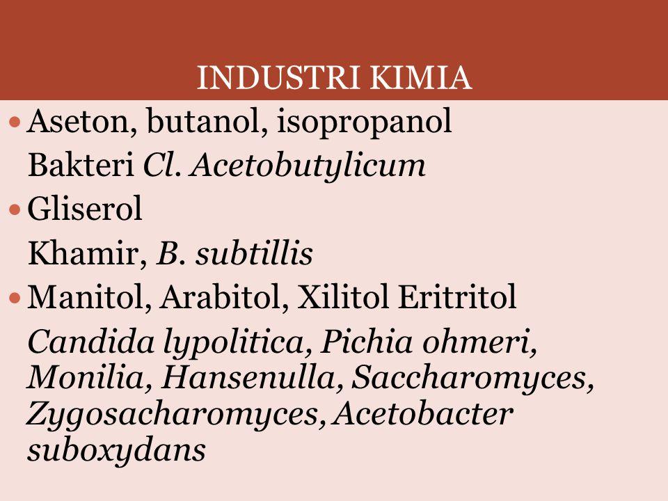 INDUSTRI KIMIA Aseton, butanol, isopropanol Bakteri Cl. Acetobutylicum Gliserol Khamir, B. subtillis Manitol, Arabitol, Xilitol Eritritol Candida lypo