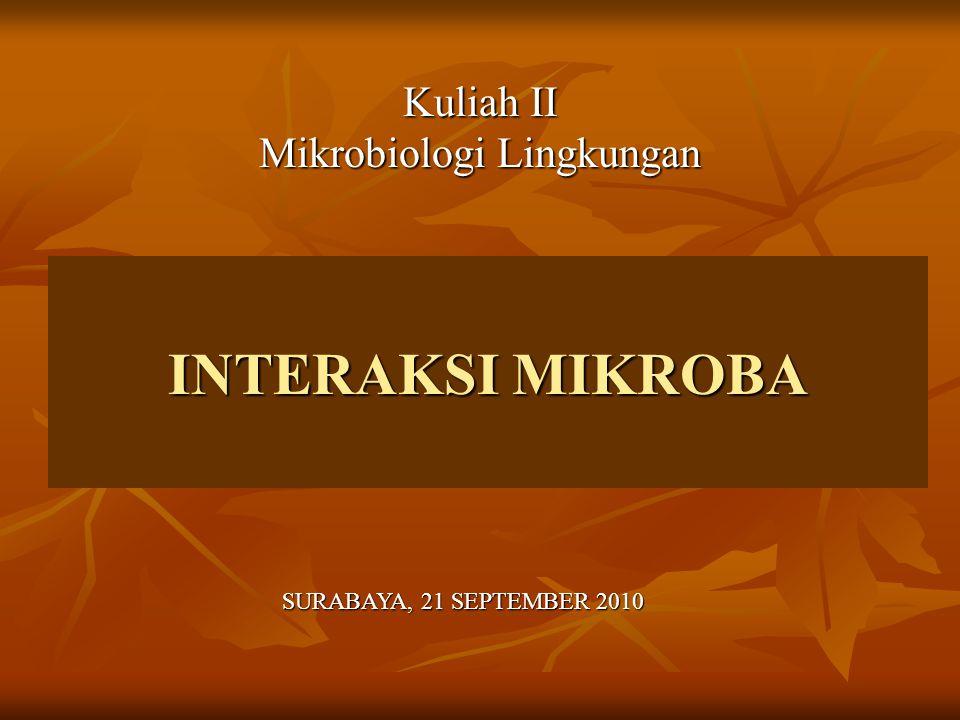 INTERAKSI DALAM EKOLOGI MIKROBA EKOLOGI MIKROBA EKOLOGI MIKROBA Ilmu yang mempelajari antara hubungan timbal balik (interaksi dan interdependensi) antara mikrorganisme dengan lingkungannya Ilmu yang mempelajari antara hubungan timbal balik (interaksi dan interdependensi) antara mikrorganisme dengan lingkungannya Bentuk-bentuk interaksi mikroorganisme di lingkungan antara lain dalam proses : Bentuk-bentuk interaksi mikroorganisme di lingkungan antara lain dalam proses : Siklus biogeokimia Siklus biogeokimia Rantai makanan Rantai makanan Herbivori (berbasis fotosintesis) Herbivori (berbasis fotosintesis) Grazing Grazing Predatori Predatori Detritus Detritus