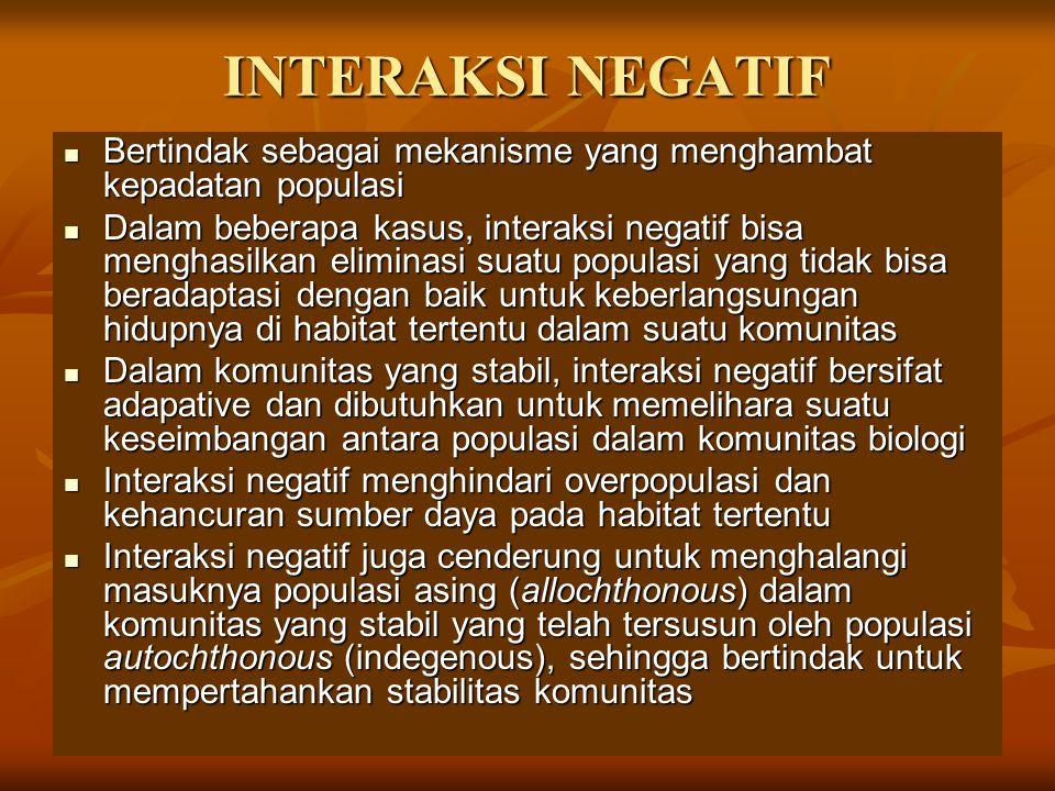 INTERAKSI NEGATIF Bertindak sebagai mekanisme yang menghambat kepadatan populasi Bertindak sebagai mekanisme yang menghambat kepadatan populasi Dalam