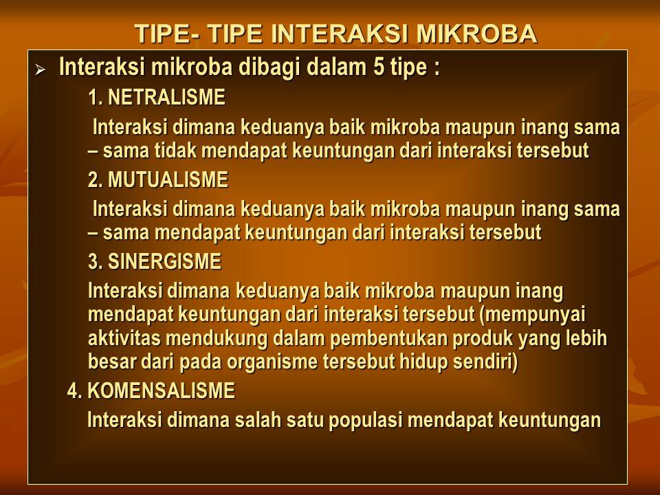 TIPE- TIPE INTERAKSI MIKROBA  Interaksi mikroba dibagi dalam 5 tipe : 1. NETRALISME Interaksi dimana keduanya baik mikroba maupun inang sama – sama t