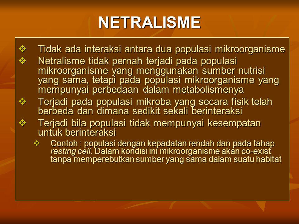 NETRALISME  Tidak ada interaksi antara dua populasi mikroorganisme  Netralisme tidak pernah terjadi pada populasi mikroorganisme yang menggunakan su