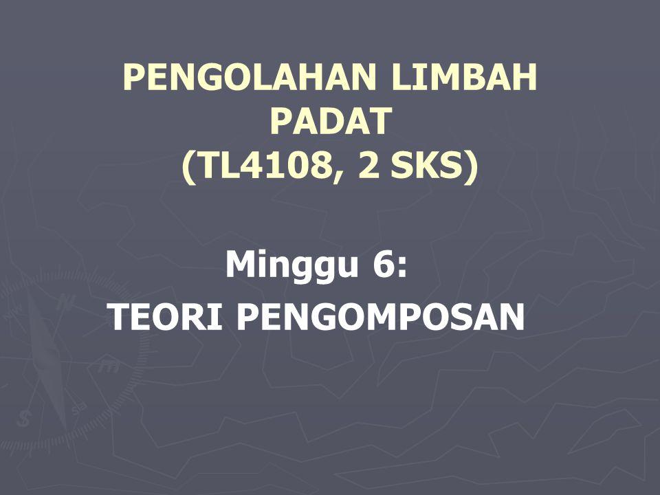 PENGOLAHAN LIMBAH PADAT (TL4108, 2 SKS) Minggu 6: TEORI PENGOMPOSAN