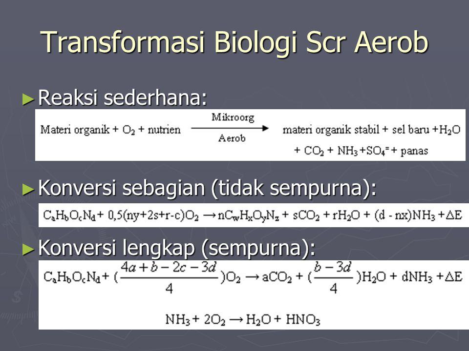 Transformasi Biologi Scr Aerob ► Reaksi sederhana: ► Konversi sebagian (tidak sempurna): ► Konversi lengkap (sempurna):