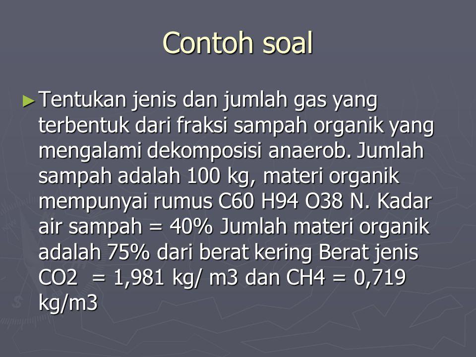 Contoh soal ► Tentukan jenis dan jumlah gas yang terbentuk dari fraksi sampah organik yang mengalami dekomposisi anaerob. Jumlah sampah adalah 100 kg,