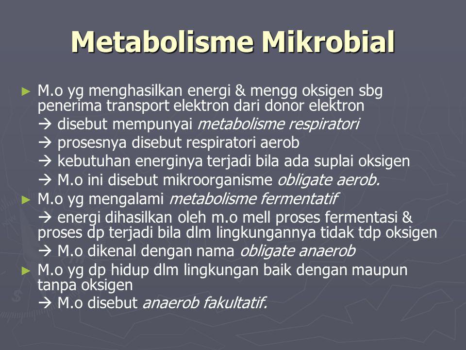 Metabolisme Mikrobial ► ► M.o yg menghasilkan energi & mengg oksigen sbg penerima transport elektron dari donor elektron  disebut mempunyai metabolis