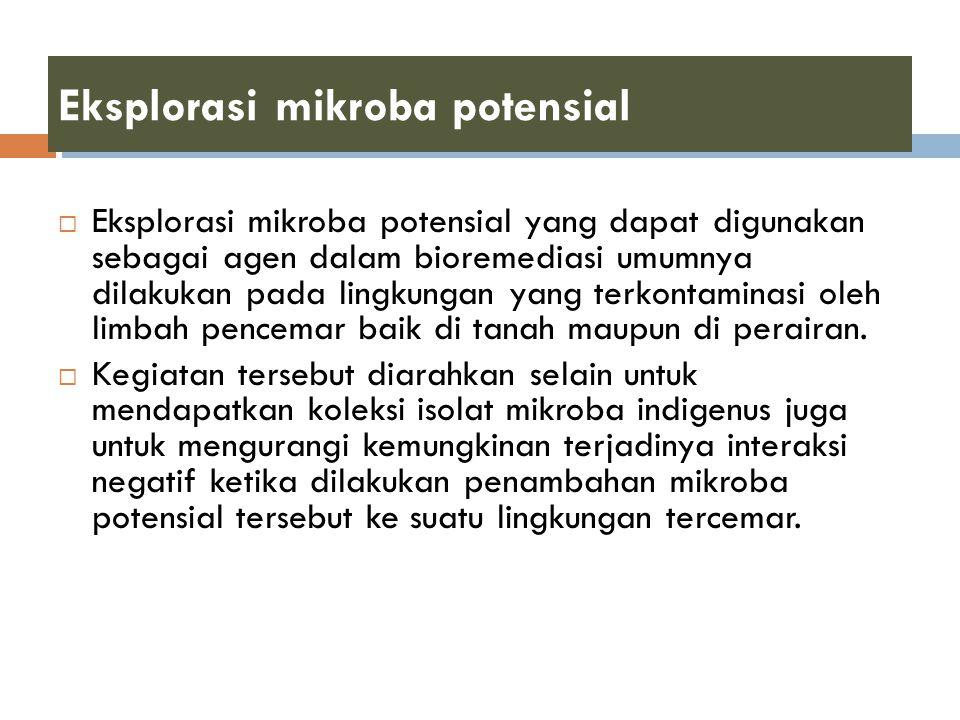 Eksplorasi mikroba potensial  Eksplorasi mikroba potensial yang dapat digunakan sebagai agen dalam bioremediasi umumnya dilakukan pada lingkungan yan