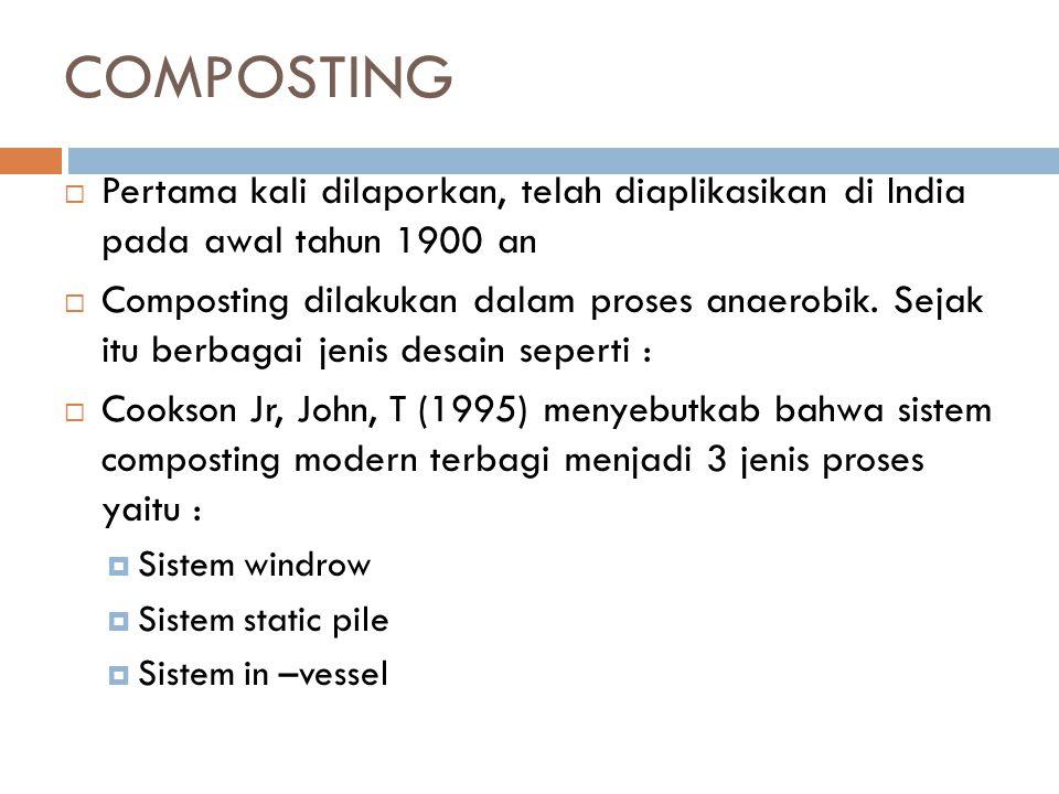 COMPOSTING  Pertama kali dilaporkan, telah diaplikasikan di India pada awal tahun 1900 an  Composting dilakukan dalam proses anaerobik. Sejak itu be