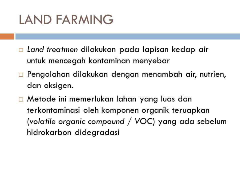 LAND FARMING  Land treatmen dilakukan pada lapisan kedap air untuk mencegah kontaminan menyebar  Pengolahan dilakukan dengan menambah air, nutrien,
