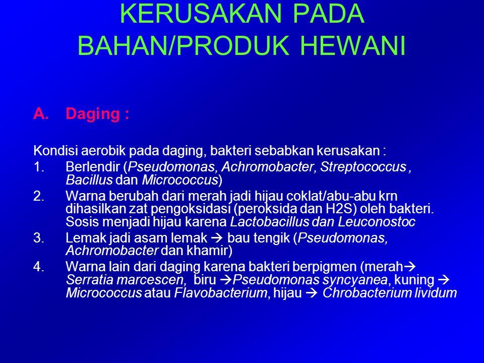 KERUSAKAN PADA BAHAN/PRODUK HEWANI A.Daging : Kondisi aerobik pada daging, bakteri sebabkan kerusakan : 1.Berlendir (Pseudomonas, Achromobacter, Strep