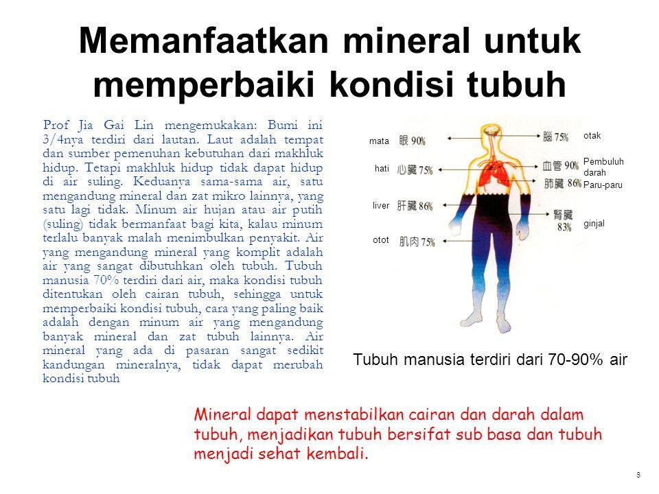 Memanfaatkan mineral untuk memperbaiki kondisi tubuh Prof Jia Gai Lin mengemukakan: Bumi ini 3/4nya terdiri dari lautan. Laut adalah tempat dan sumber
