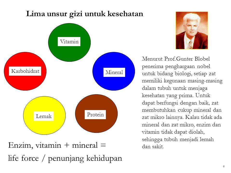 Enzim, vitamin + mineral = life force / penunjang kehidupan Lima unsur gizi untuk kesehatan Vitamin Mineral Protein Lemak Karbohidrat Menurut Prof.Gun