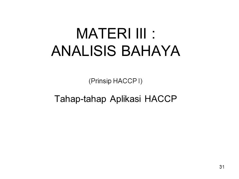MATERI III : ANALISIS BAHAYA (Prinsip HACCP I) Tahap-tahap Aplikasi HACCP 31