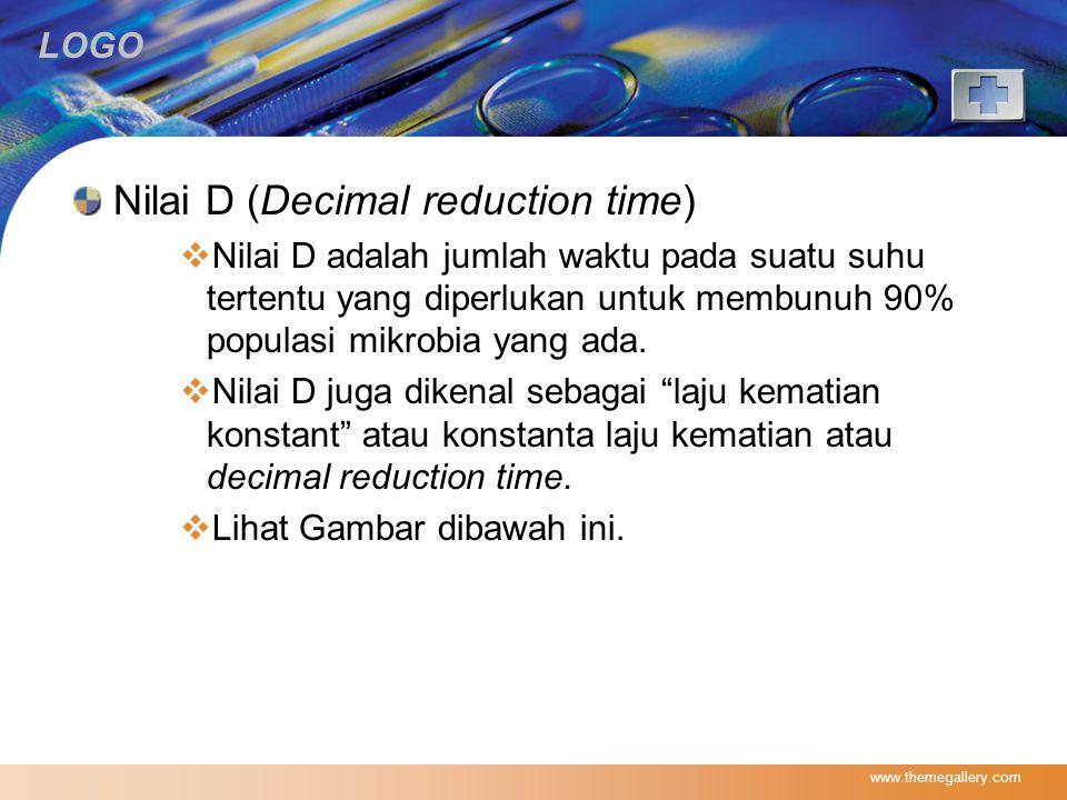LOGO Nilai D (Decimal reduction time)  Nilai D adalah jumlah waktu pada suatu suhu tertentu yang diperlukan untuk membunuh 90% populasi mikrobia yang