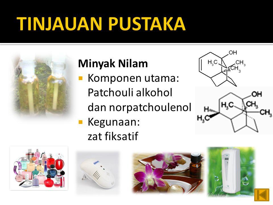 Minyak Nilam  Komponen utama: Patchouli alkohol dan norpatchoulenol  Kegunaan: zat fiksatif
