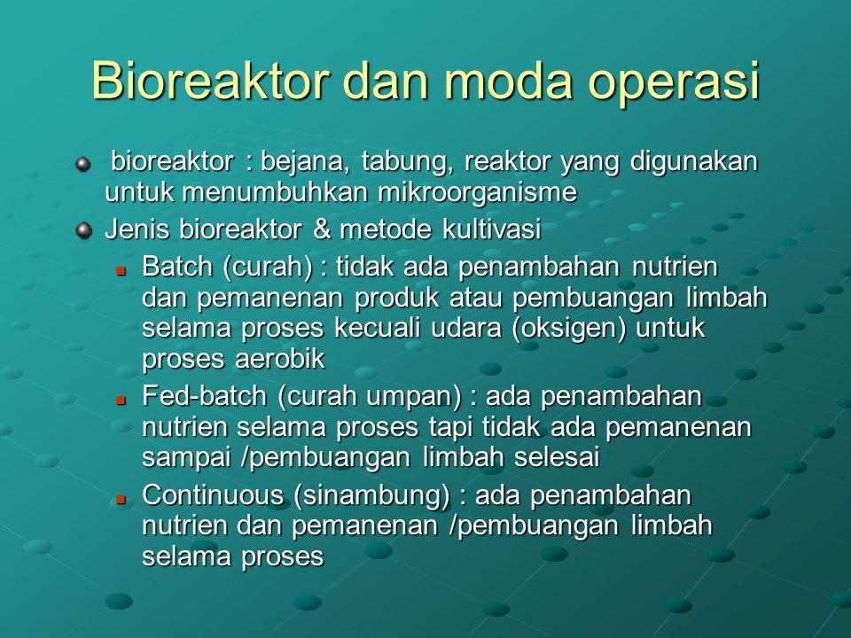 Bioreaktor dan moda operasi bioreaktor : bejana, tabung, reaktor yang digunakan untuk menumbuhkan mikroorganisme bioreaktor : bejana, tabung, reaktor