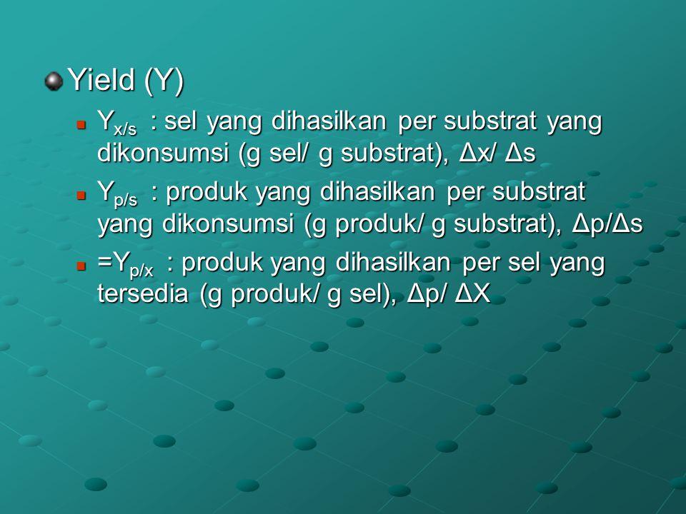 Yield (Y) Y x/s : sel yang dihasilkan per substrat yang dikonsumsi (g sel/ g substrat), Δx/ Δs Y x/s : sel yang dihasilkan per substrat yang dikonsums