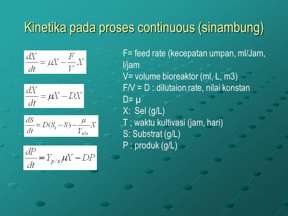 Kinetika pada proses continuous (sinambung) F= feed rate (kecepatan umpan, ml/Jam, l/jam V= volume bioreaktor (ml, L, m3) F/V = D : dilutaion rate, ni