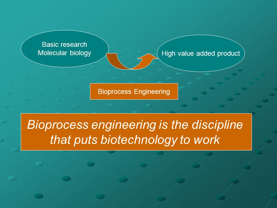 Basic research Molecular biology High value added product Bioprocess Engineering Bioprocess engineering is the discipline that puts biotechnology to w