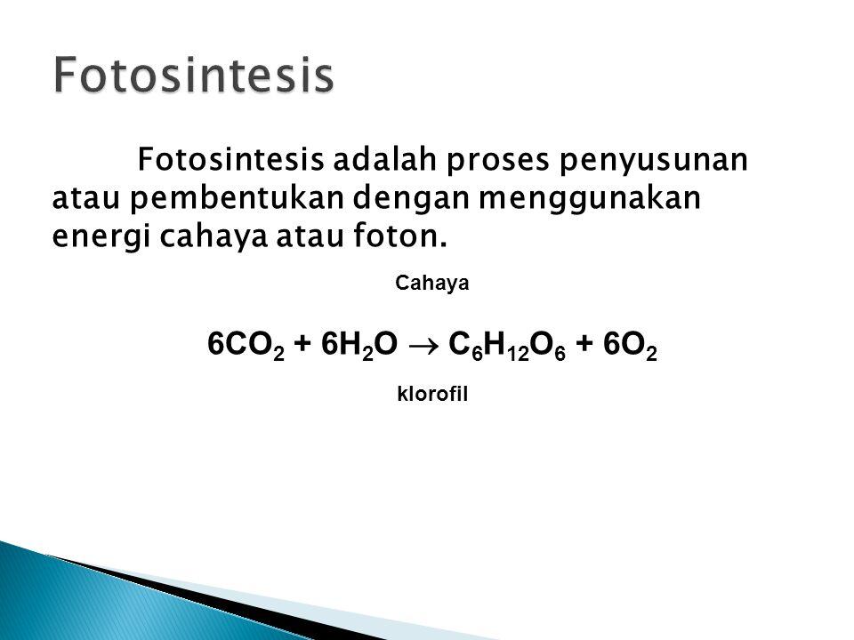 Fotosintesis adalah proses penyusunan atau pembentukan dengan menggunakan energi cahaya atau foton. Cahaya 6CO 2 + 6H 2 O  C 6 H 12 O 6 + 6O 2 klorof