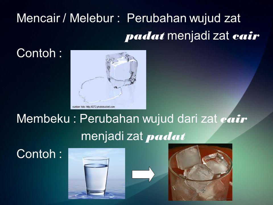 Mengembun : perubahan wujud gas menjadi cair Contoh : Menguap : perubahan wujud cair menjadi gas Contoh :