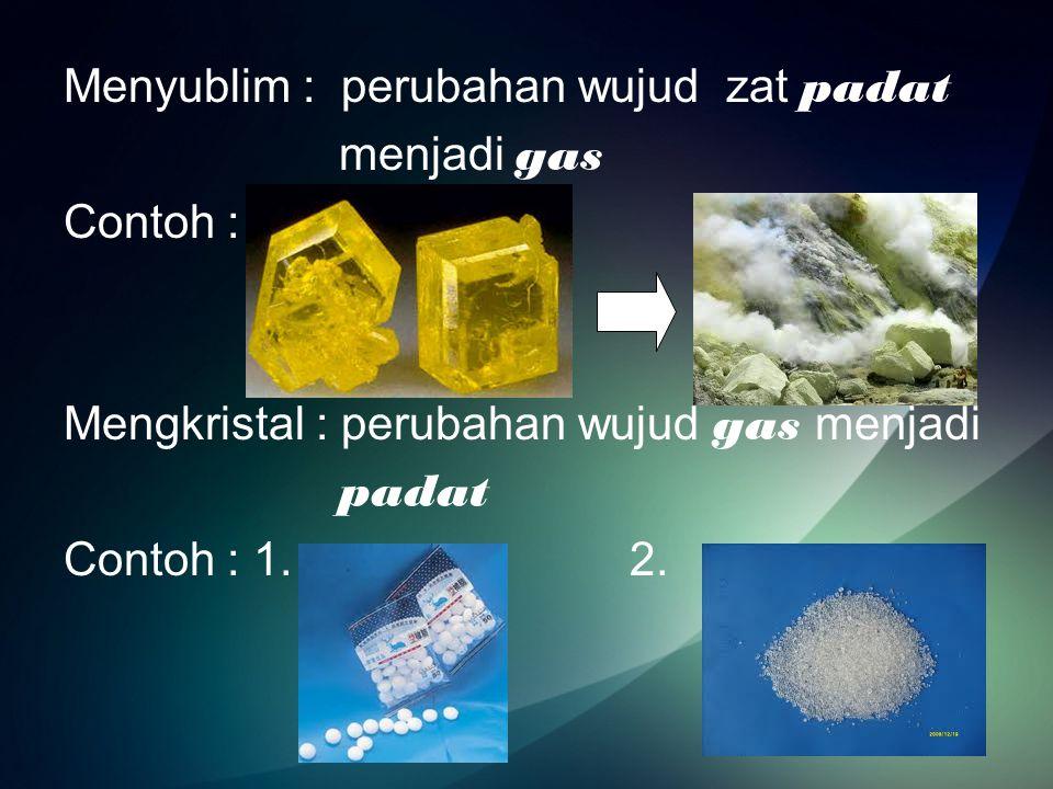 Partikel Zat Partikel zat adalah Bagian terkecil zat yang masih memiliki sifat zat tersebut Contoh :