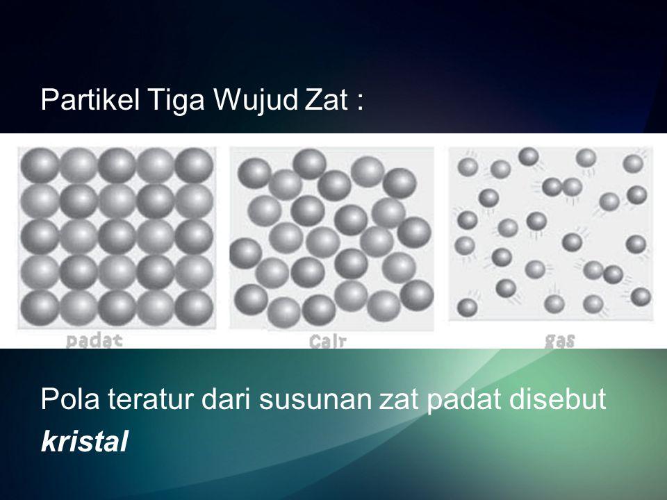 Partikel zat padat Ciri-cirinya : - Jarak antarpartikel berdekatan -Letaknya teratur -Gaya tarik antarpartikel sangat kuat -Partikel bergetar di tempat