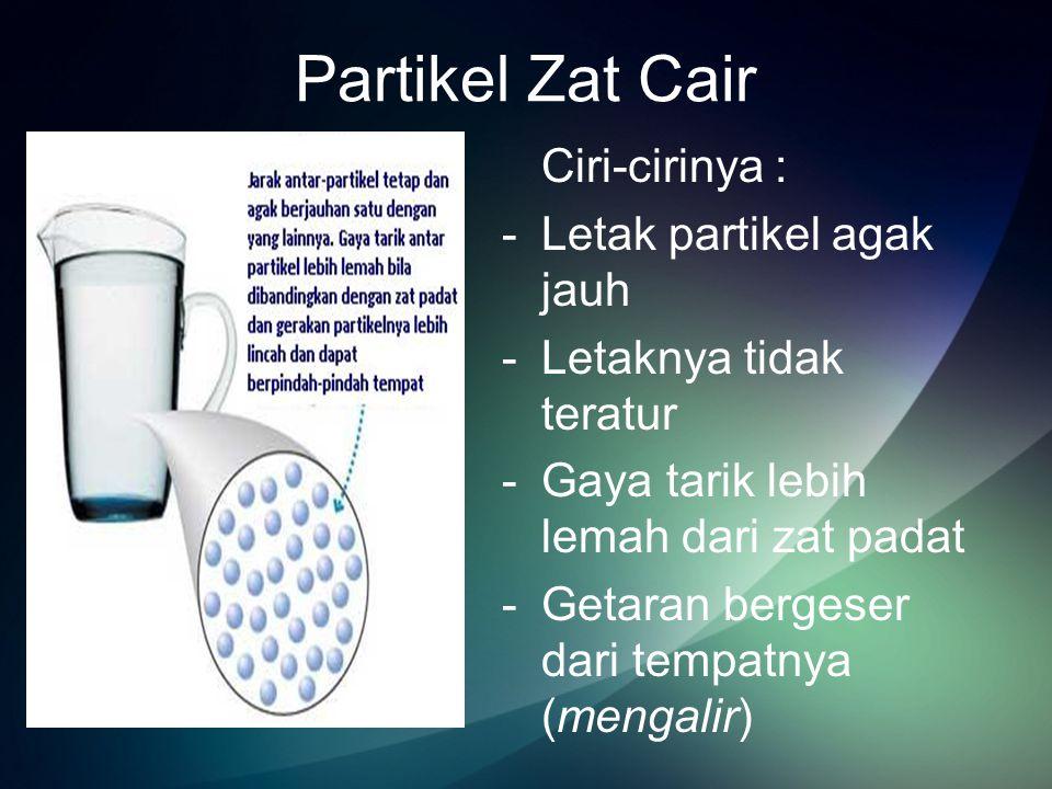 Partikel Zat Gas Ciri-cirinya : -Jarak partikel berjauhan -Letaknya tidak teratur -Gaya tarik sangat lemah -Partikel bebas bergetar