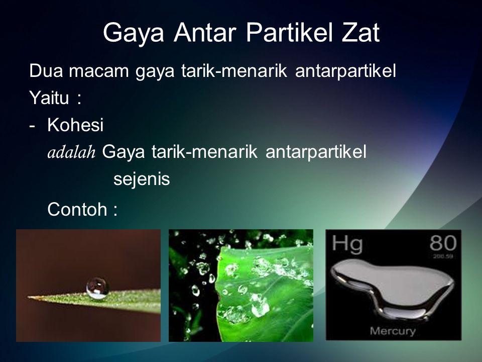 -Adhesi adalah gaya tarik-menarik antarpartikel yang tidak sejenis Contoh :