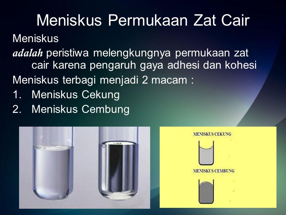 Meniskus Cekung adalah permukaan zat cair yang berbentuk cekung Contoh : Permukaan air pada pipa kapiler