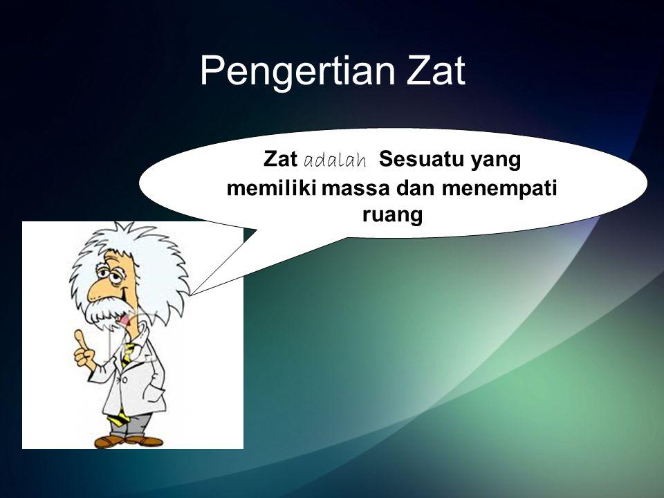Wujud Zat Zat memiliki tiga wujud 1.Zat Padat Ciri –cirinya : bentuk tetap volum tetap massa tetap Contoh :