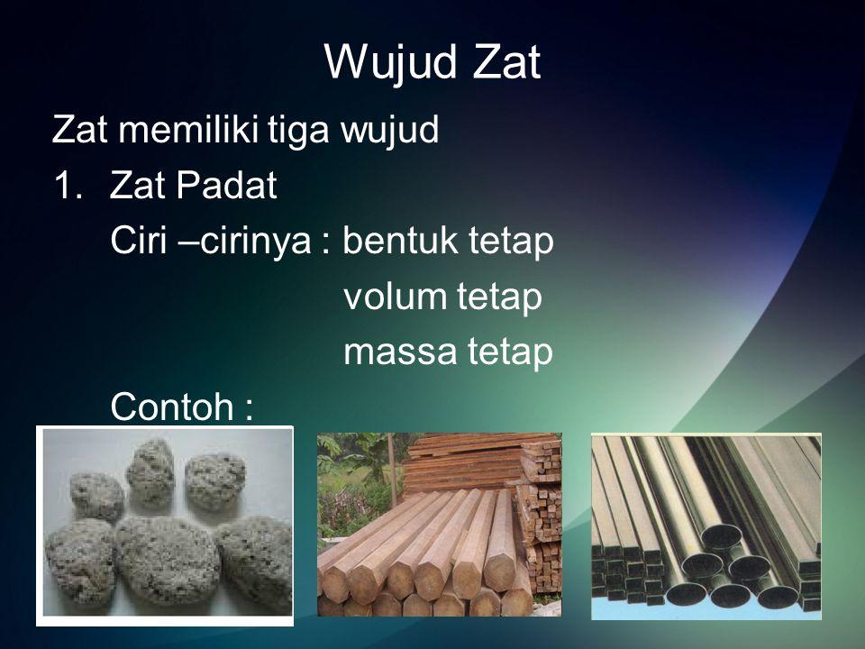 2.Zat Cair Ciri-cirinya : bentuknya berubah sesuai tempatnya volum dan massa tetap Contoh :