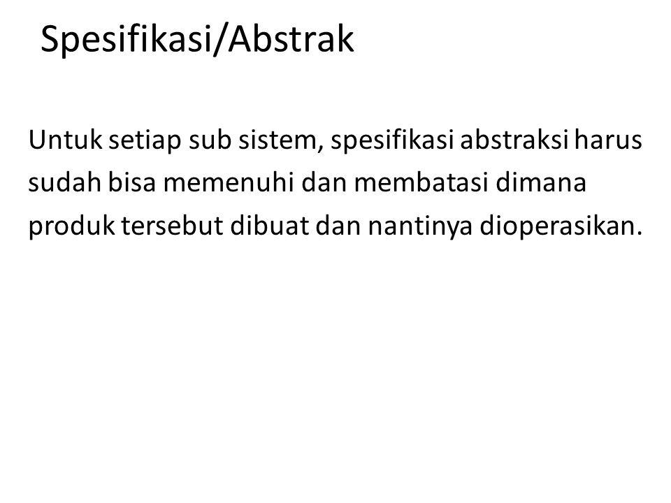 Spesifikasi/Abstrak Untuk setiap sub sistem, spesifikasi abstraksi harus sudah bisa memenuhi dan membatasi dimana produk tersebut dibuat dan nantinya