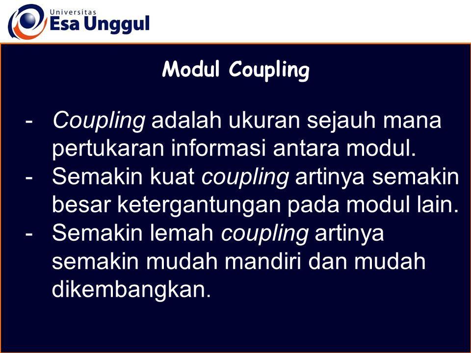 MATERI BELAJAR Modul Coupling -Coupling adalah ukuran sejauh mana pertukaran informasi antara modul. -Semakin kuat coupling artinya semakin besar kete