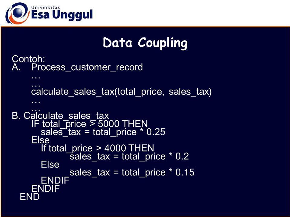 MATERI BELAJAR Data Coupling Contoh: A.Process_customer_record … calculate_sales_tax(total_price, sales_tax) … B. Calculate_sales_tax IF total_price >