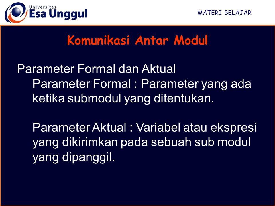 MATERI BELAJAR Komunikasi Antar Modul Contoh parameter aktual: Mainline Calculate_amount_owing (gasFigure,amountbilled) End Contoh Parameter Formal : Submodul Calculate_amount_owing (gasUsage,amountOwing) …..