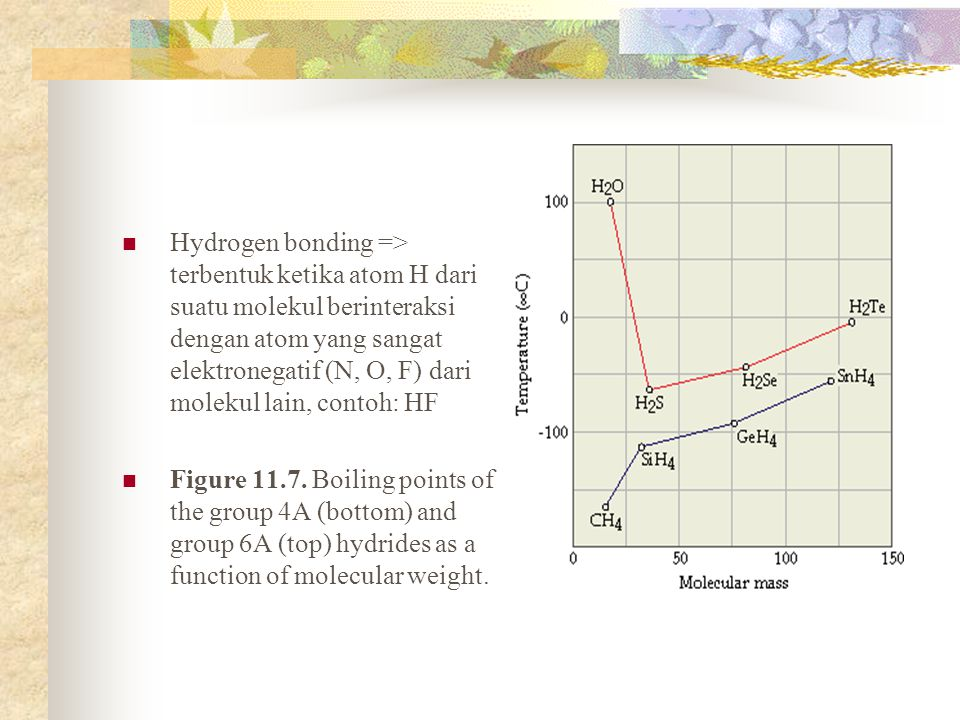 Hydrogen bonding => terbentuk ketika atom H dari suatu molekul berinteraksi dengan atom yang sangat elektronegatif (N, O, F) dari molekul lain, contoh: HF Figure 11.7.